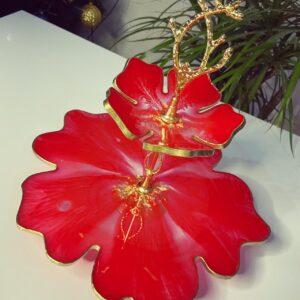 2 katlı Kırmızı çiçek sunumluk
