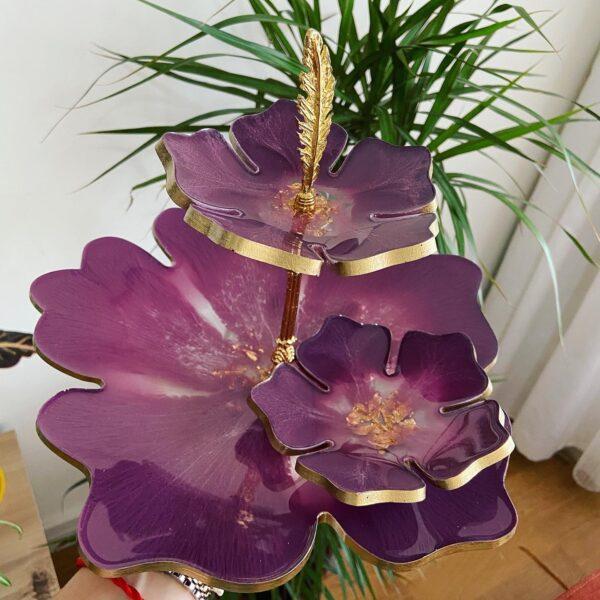 2 katlı Mor çiçek sunumluk