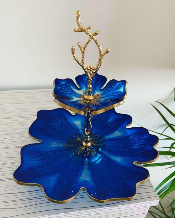 2 katlı Mavi çiçek sunumluk